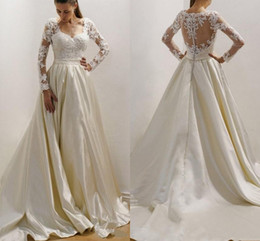 $enCountryForm.capitalKeyWord UK - White Ivory Satin A Line Wedding Dresses Long Sleeves Lace Appliques Formal Church Bridal Gown Illusion Button Back Sweep Train AL3151