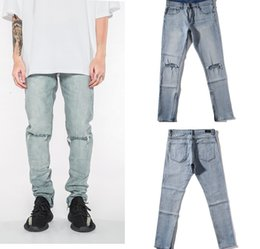 $enCountryForm.capitalKeyWord Australia - Cool2019 Classic Jeans Knife Bottom Of A Trouser Leg Inside Zipper Solid Color Basics Fund Knee Holes Blue Self-cultivation Trousers