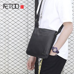 7fd13a4e3f AETOO Leather men s single shoulder Baotou layer cowhide crossbody bag  vertical business and leisure bag