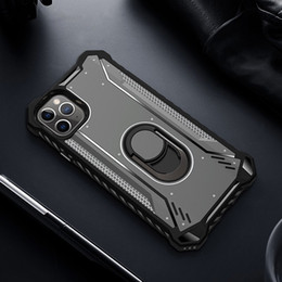 mounting card Canada - New military grade cusion shockproof ring stand car mount magnet tpu pc combo hybrid case for iphone 11 pro max