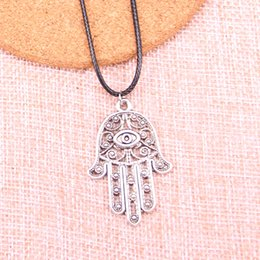 $enCountryForm.capitalKeyWord Australia - New Durable Black Faux Leather Antique Silver 36*25mm eye hamsa palm protection Pendant Leather Chain Necklace Vintage Jewelry Dropshipping