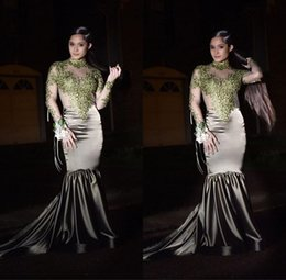 Discount high neck satin silver dress - 2019 Vintage Long Sleeve Mermaid Prom Dresses Mint Green Lace Appliques High Neck Evening Party Dresses