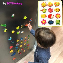 magnets wooden animals NZ - 1Set Wooden Refrigerator Magnet Fridge Stickers Animal Cartoon Alphabet Numbers Colorful Kids Toys for Children Baby Educational