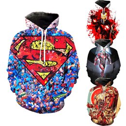 Discount super size women clothes - Superhero Hoodie Avengers Costume 3D Print Hoodies Men's Sweatshirts Casual Coat Cosplay Sweater Women Clothing Fam