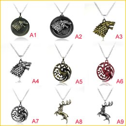 Punk Rings Australia - Cheapest!!! Game of Thrones Necklace And Key Rings Metal Family Crest Pendant Jewelry Souvenirs Gift Maxi Wolf Punk Men 50pcs