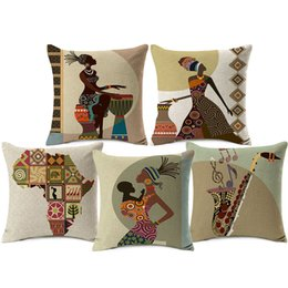 African Chairs Australia - African Lady Sofa Cushion Covers Africa Symbols Modern Art Thick Cotton Linen Cushion Cover 45X45cm Sofa Chair Decoration