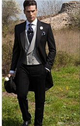 $enCountryForm.capitalKeyWord Australia - New Custom Made Slim Fit Morning Style Groom Tuxedos Peak Lapel Men's Suit Groomsman Best Man Wedding Prom Suits(Jacket+Pants+Tie+Vest)