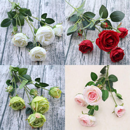 Silk White Rose Leaves Australia - 6 Heads Rose Artificial Flower Branch with Leaves Silk Rose Flower Bouquet for Indoor Home Table Decor DIY Wedding Decoration