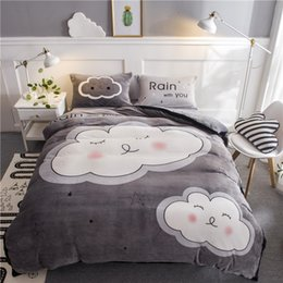 Beautiful Modern Bedding Australia - Fanaijia gray Flannel bedding sets queen duvet Cover With Pillowcases sheet Cartoon clouds Beautiful Bedclothes High-quality