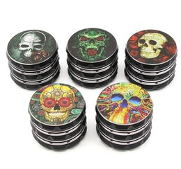 devil alloys Canada - The latest 63X48MM size four-layer manual black skull dark devil smoking set smoke grinder metal aluminum alloy material