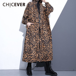 $enCountryForm.capitalKeyWord Australia - CHICEVER Leopard Women's Windbreaker Stand Collar Long Sleeve Zipper Loose Oversize Long Trench Female Coat Fashion Clothing