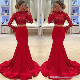 $enCountryForm.capitalKeyWord NZ - Red Two Piece Prom Dresses 2019 African Cheap Long Sleeve High Neck Mermaid Lace Cheap Formal Evening Gowns Arabic Vestidos