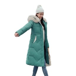 Cotton padded korean Coat online shopping - New women s cotton coats Korean outwear winter long knee padded female Slim hooded Fur collar warm windproof parkas jacket
