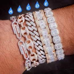 Wholesale paper clip coffee bean Lock Clasp Link 7-8 Inch Bracelet Iced Out Zircon Bling Hip hop Men Jewelry Gift beaded charms bracelets