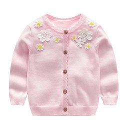 Cotton Cardigans For Girls Australia - spring girls cardigan sweater kids white flower baby cardigan for girls school clothes pink navy baby girl clothes 100% cotton
