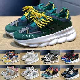 Suede chain online shopping - 2019 Chain Reaction Men Women Fashion Luxury Designer Shoes leopard print Green White Suede Trainers Sneakers Casual shoes