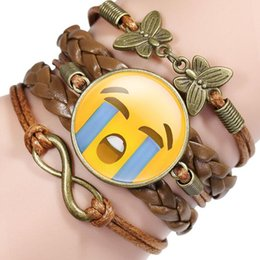 artificial chains wholesalers NZ - Multi-layer Creative Gift Unisex Emoji Bracelet Party Favor Artificial leather Bracelets Retro Bracelet Rope Chain Facial Expression