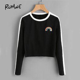 $enCountryForm.capitalKeyWord UK - wholesale Rainbow Patch Cute T-shirt Contrast Panel Crop Top 2019 Women Casual Color Block Tops Autumn New Long Sleeve Brief
