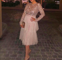 $enCountryForm.capitalKeyWord Australia - 2018 Arabia Evening Dress Long Vestido De Festa Sequins long sleeves Mid Calf Length Custom Made Elegant Evening Gown Tiered ruffles