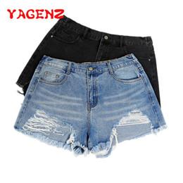 $enCountryForm.capitalKeyWord NZ - YAGENZ Plus size Jeans Woman Summer Pants Women fashion Hole Tassel Ladie Jeans Denim Thin Shorts Pants Female Double pocket 323