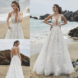 $enCountryForm.capitalKeyWord Australia - Berta 2020 Beach Wedding Dresses Beads V Neck Backless Lace 3D Floral Appliques Vestidos de Novia Sweep Train Boho Bridal Gowns