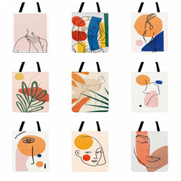 Discount beach bags folding Fashion Shopping Bag Ladies Shoulder Bag Abstract Character Art Painting Print Tote For Women Casual Tote Outdoor Beach