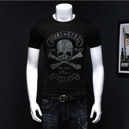 $enCountryForm.capitalKeyWord Australia - New Skull Hot Diamond T-shirt Multi-color 100% Cotton Short-sleeved T-shirt Men's High Quality Rhinestone Shirt European Size J190717