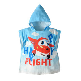 Blue Cotton Cloak Australia - 19 years new children's bathrobe Baby Flying Music Le Di cotton hooded hooded cloak cloak Baby bath towel