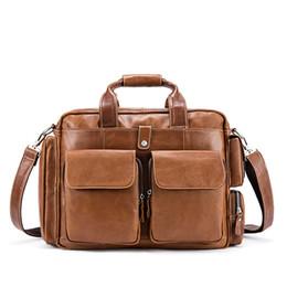 cc8ccc7f3337 2019Vintage Crazy Horse Leather Men s Briefcase Laptop Bag Genuine Leather  Briefcase Men Shoulder Bag Crossbody Business