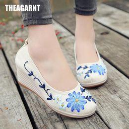 $enCountryForm.capitalKeyWord Australia - Designer Dress Shoes THEAGRANT 2019 Spring Summer Ethnic Floral Women Wedge Pumps High Heels Casual Slip On Ladies WHH3003
