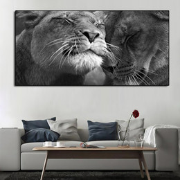 oil painting african art UK - 1 Pcs African Black and White Lion Animal Poster And Prints Wall Decor For Living Room Canvas Painting Wall Art Picture Home Posters