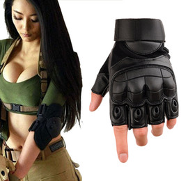 $enCountryForm.capitalKeyWord Australia - Tactical Fingerless Gloves Army Paintball Bicycle Leather Protection Rubber Knuckle Half Finger Gloves for Men