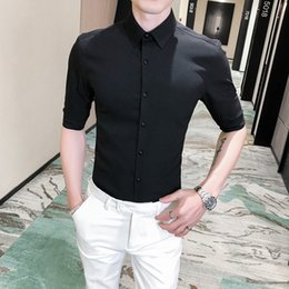 half shirts men NZ - 2020 Summer Embroidery Shirt Men Simple Solid Half Sleeve Mens Dress Shirts Casual Slim Fit Night Club Prom Tuxedo High Quality