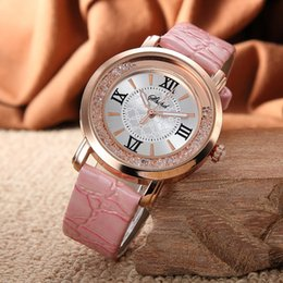 pink color watches UK - New Fashion Casual Rose Gold Case Pu Leather Watch Women Ladies Quicksand Dress Quartz Wristwatches Relogio Feminino