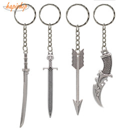 knife swords wholesale UK - Hapiship Fashion Handmade Vintage Silver Bronze Knife Sword Key Chains Key Rings Alloy Charms Gifts YSCA02 Factory Wholesale
