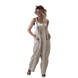 Harem Jumpsuits Women Australia - 2018 Women Casual Loose Jumpsuits Fashion Fall Summer Spring Overalls Solid Palin Straps Sleeveless Bandage Harem Pants Outfits C19040301