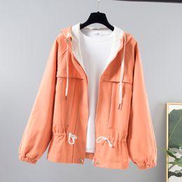 $enCountryForm.capitalKeyWord Australia - Korean Hooded Baseball Jacket Female Autumn New Safari style Waist Drawstring Zipper Jacket Women Loose Casual Windbreaker Coat