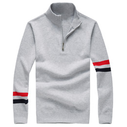 sweater zippers Australia - men small half zipper cotton sweater jersey horse Jumper hombre pull homme hiver pullover men Knitted sweaters