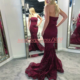 Black lace sheath online shopping - Trendy Lace Strapless Evening Dresses Mermaid Sleeveless Burgundy Plus Size Arabic Formal Gowns Party Occasion Prom Wear Vestido de noche