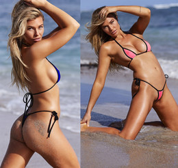 $enCountryForm.capitalKeyWord UK - 2019 2 Sets Swimsuit Hot Sale Sexy Brazilian Bikini Micro Mini Bikini Set Cheap Strappy Female Knitting Beach Swimwear