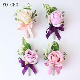 Bridal Brooch Flower UK - YO CHO Corsage Groom Boutonniere Bridal Wrist Corsage Pink Men Brooch Artificial Silk Rose Flower Bridesmaid Bracelet Wedding Personal Decor