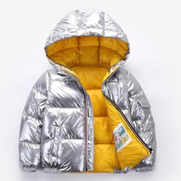 Wholesale 2021 Children winter jacket Coat for kids girl silver gold Boys Casual Hooded Coats Baby Clothing Outwear kid Parka Jackets snowsuit