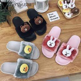 China cute brown bear decoration fur home slippers women flat anti-skid slides 2018 korean style cartoon animal prints fur shoes supplier korean home style suppliers