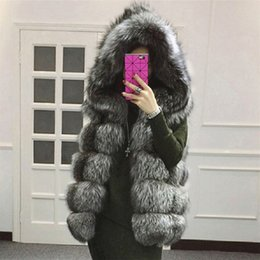 Plus Size Faux Fox Vest Australia - LEDEDAZ New Fox Fur Hooded Vest Coat & Jacket Sleeveless Fluffy Middle Long Faux Fur Vest 4XL Plus Size Autumn Winter Jacket