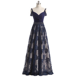 $enCountryForm.capitalKeyWord Australia - Perfect Summer Beading Aline Sleeveless Evening Dresses Dark Navy Prom Party Gowns Plus Size Celebrity Dresses Abendkleider