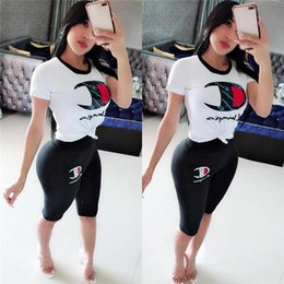 $enCountryForm.capitalKeyWord Australia - Women Tracksuits Champions Letter Printed Sportswear Short Sleeves T-shirt+ Round Neck Pants 2 Piece Suit Leggings Suit Clothing Hot