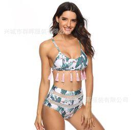 Le nouveau maillot de bain d'Amazon en Europe et aux États-Unis en 2019 a éclaté devant un écran creux à imprimé vert avec des glands triangulaires et un bikini taille haute en Solde