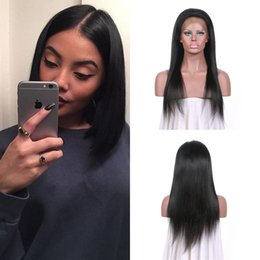 Discount virgin brazilian straight wigs - Pre Plucked Straight Lace Front Wig With Baby Hair 8-24 Inch 130% 150% Density Natural Black Can Be Dyed Free Shipping G