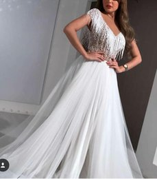 $enCountryForm.capitalKeyWord Australia - Evening dress A_Line Short Sleeve V_Neck Tulle Tassels Crystal White Classic Customizable in any size Modern 1 Customizable