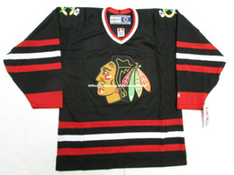 Cheap custom CHICAGO BLACKHAWKS VINTAGE CCM BLACK HOCKEY JERSEY stitch add  any number any name Mens Hockey Jersey GOALIE CUT 5XL e1bb0588d